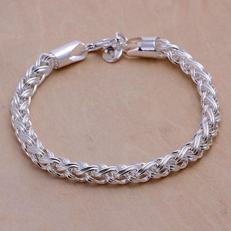 fine summer style 925 sterling silver bracelet 925 sterling silver jewelry bijouterie chain bracelets for women men SB070-in Chain & Link ...