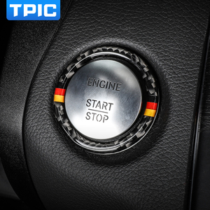 Image 1 - Pegatina para Mercedes Benz Clase C E W205 W213 GLC, parada de arranque de motor de coche, anillo de botón de arranque, moldura de fibra de carbono, accesorios interiores