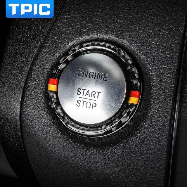 Pegatina para Mercedes Benz Clase C E W205 W213 GLC, parada de arranque de motor de coche, anillo de botón de arranque, moldura de fibra de carbono, accesorios interiores