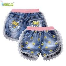 2016 New fashion kid girl jeans short pants cartoon girls shorts summer kids children denim jeans shorts trousers BP002