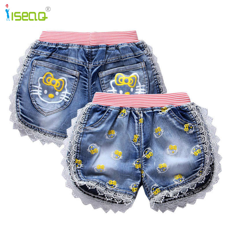 girls baby and kid girl jeans short pants cartoon girls shorts summer kids children denim jeans shorts trousers plus frill trim pleated dress