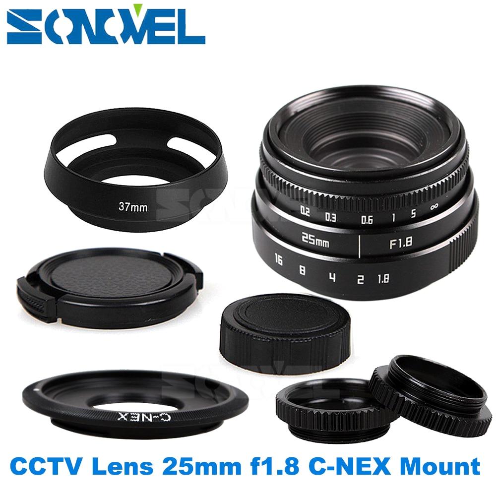25mm F1.8 APS-C Television TV Lens CCTV Lens+hood For Sony E Mount Nex-5T Nex-F3 Nex-6 Nex-7 Nex-5R A6300 A6100 A6000 A6500 стоимость