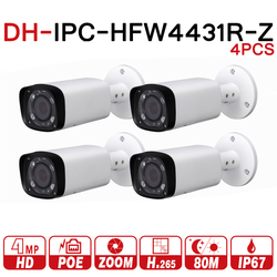 DH IPC-HFW4431R-Z 4pcs/lot 4mp Network IP Camera 2.7-12mm VF Lens Auto Focus 80m IR Bullet Security POE For CCTV System