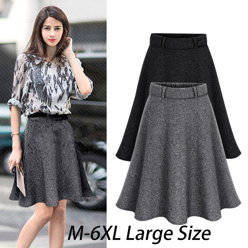 Autumn Women Elastic Waist Plus Size A-line Skirts Hip Slim Medium-long Loose Plus Size Skirts Large Size Skirts Price $32.50