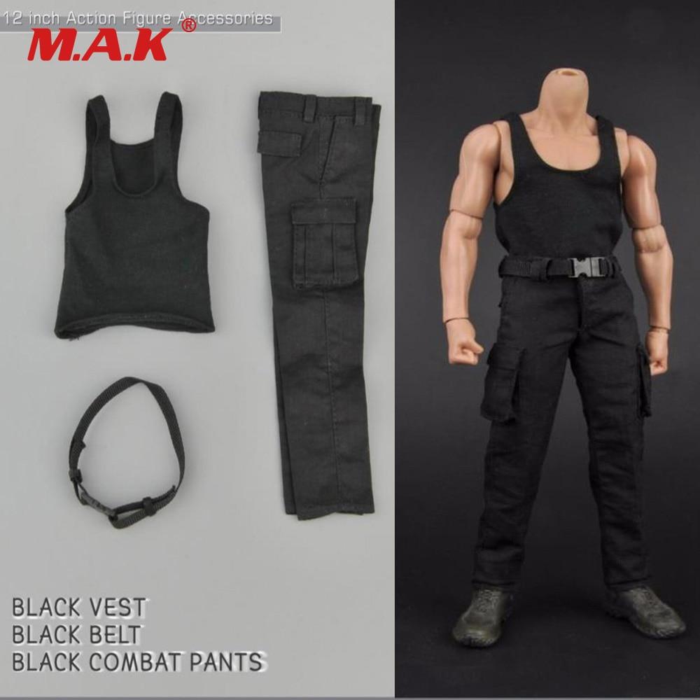 1/6 Male Soldier Clothes Set Black Vest & Combat Pants Trousers for 12 inches Tough Guy  Action Figure Body 1 set male