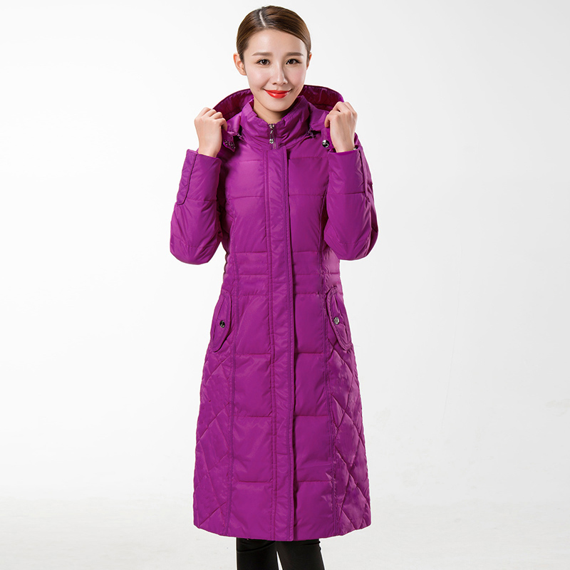 New Winter Long Coat Female Fashion Wadded Cotton Jacket Women Parkas Hooded Women's Padded Jackets Plus Size Casual Coat  C1114 linenall women parkas loose medium long slanting lapel wadded jacket outerwear female plus size vintage cotton padded jacket ym