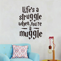 Life Is A Struggle Funny Harry Potter Wall Stickers Quotes Vinyl Wall Decals For