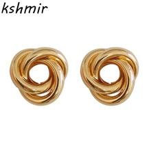 Minimalist fashion creative design earrings joker hand knot fine ladies
