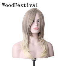 woman wigs long hair mixed brown mixed color wig heat resistant synthetic wigs straight hair wig long black blonde WoodFestival