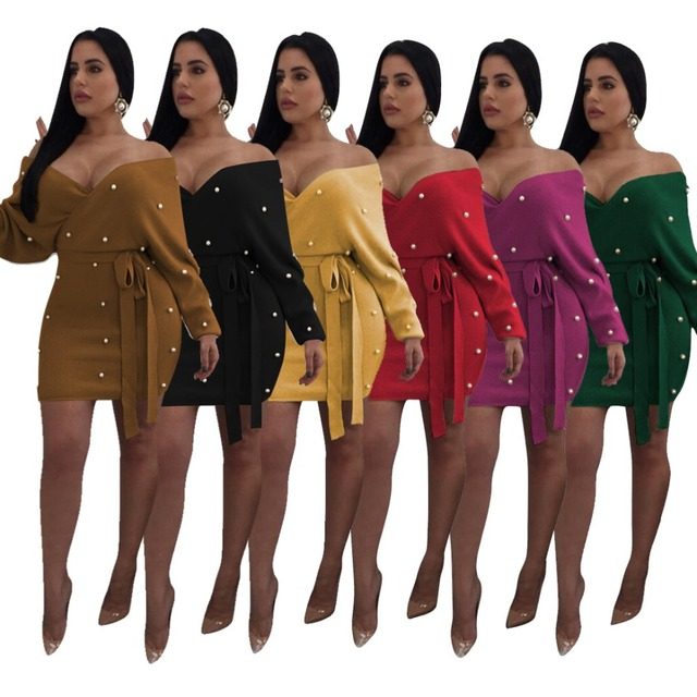 Pearls Wrap V Neck Off Shoulder Bodycon Dress Women Sexy Long Sleeve Bodycon  Mini Night Club Party Dresses Outfits Plus Size XXL a6f0df5d9c61