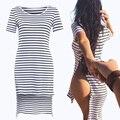 Venda quente de Verão Listrado Camisa Longa T Mulheres 2016 Ocasional Sólida Garfo lado Camiseta Feminina de Manga Curta Soltas Tops Plus Size Tee A131