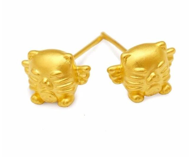 Fashion Pure 999 24k Yellow Gold Earrings New Design Lucky Owl Stud