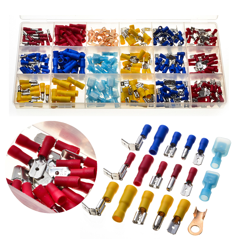 290Pcs Assorted Electrical Wire Terminals Insulated Crimp Connector Spade Piggy Back Set Red Yellow Blue 22-10AWG 480pcs set assorted crimp terminals set insulated electrical wire connector spade set fuli
