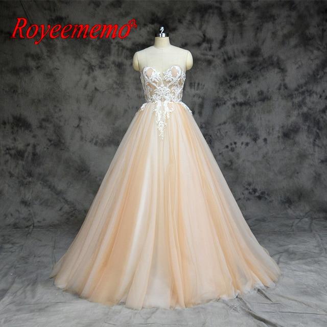 2019 New arrival kontrast kolor ładny frezowanie suknia ślubna piętro długość suknia ślubna dostosuj zaakceptowane fabryki bezpośrednio