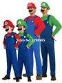 Супер марио костюм со Шляпой и борода Взрослый Ребенок Зеленый/Красный supermario костюм