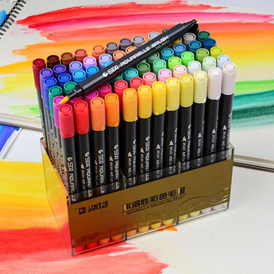 Sta 12/24/36/48/80 cor arte escova esboço marcador canetas tinta à base de água caneta marcador de ponta gêmea para arte gráfico desenho manga arte fina