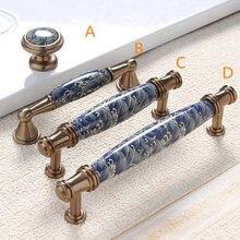 3,75 ''5'' cajón de cerámica tiradores de puerta manijas de armario de cocina perilla de armario manija de armario Muebles Azul Bronce Antiguo