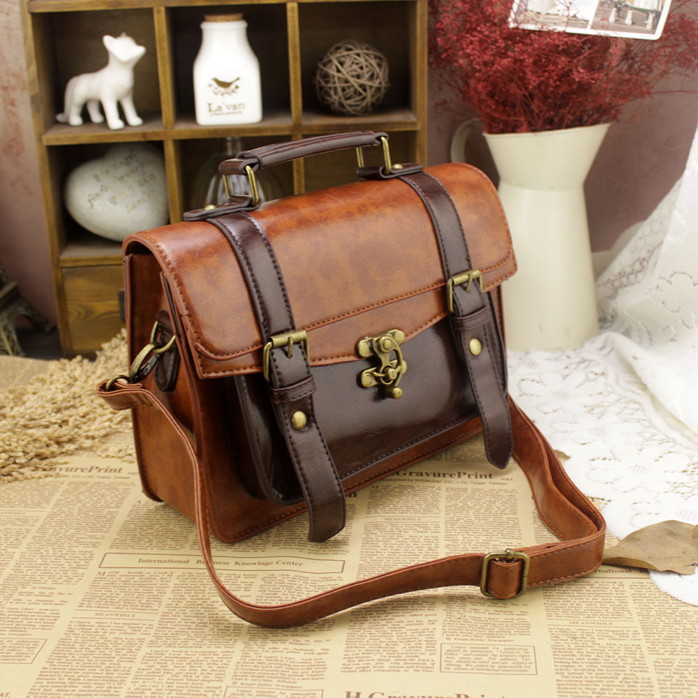 ФОТО New Small Women's Business Leather Briefcase Solid Brown Executive Briefcase Document Dress Lawyer Briefcase Vintage Postman Bag