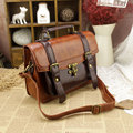 New Small Women's Business Leather Briefcase Solid Brown Executive Briefcase Document Dress Lawyer Briefcase Vintage Postman Bag