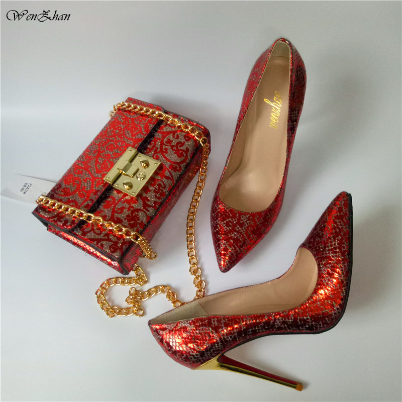 Custom Handmade High Heel Soft Shoes With Matching Bag WENZHAN Latest Print Leather slip on shoes With HandBag stunning red A7-4 wenzhan latest shoes matching bags lemon green flannelette material for wedding high heel shoes with appliques bag hot a711 28