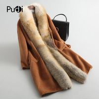 PUDI A37153 2018 lady New wool coat jacket overcoat women's winter warm genuine fox fur collar feather down coat