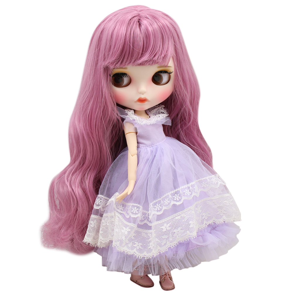 ICY Nude Blyth Doll For No BL1063 Plae pinkhair Carved lips Matte face with eyebrows Joint