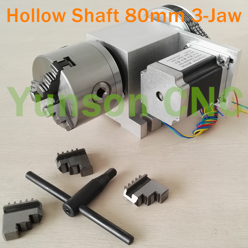 Hollow Shaft 80mm diameter 3 Jaw Chuck Rotary Axis CNC 4th Axis with NEMA23 motor for
