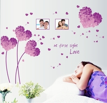 heart shape flowers wall stickers love vinyl decals women couples bedroom wedding room decor valentine decorative papers