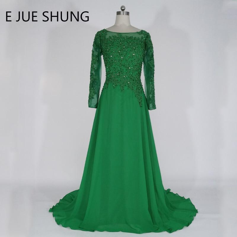 E JUE SHUNG Зелёный шифон с длинными рукавами Вечерние платья Длинные кружевные аппликации Вечерние платья из бисера Платья для матери невесты