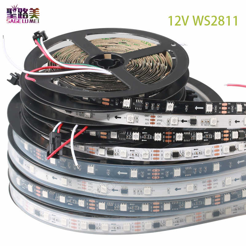 DC12V SMD5050 RGB elastyczne adresowalne 30/48/60 leds/m ws2811 led piksele diody na wstążce taśma zewnętrzna ic, 1 sterowanie ic 3 diody led