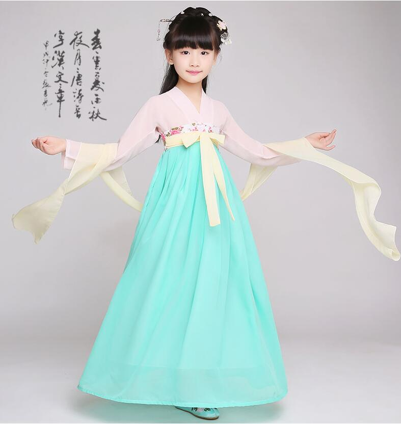 girls traditional chinese traditional tang hanfu dress child clothing cosplay kids children fairy dance ancient chinese costume