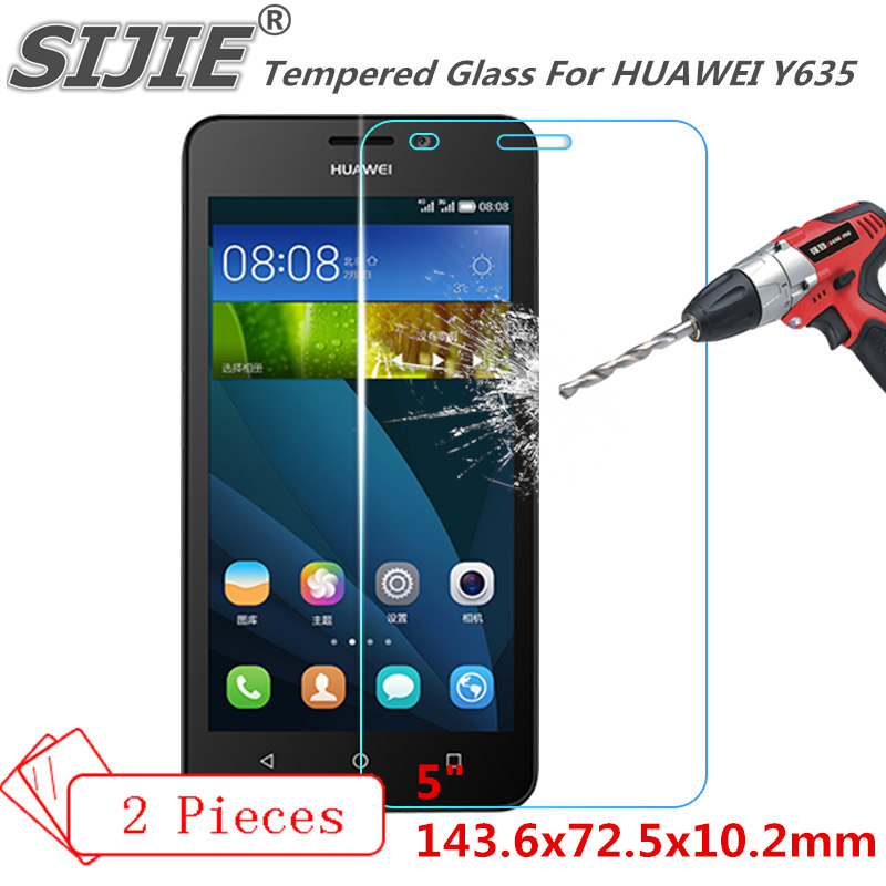 2PCS Tempered Glass For HUAWEI Y635 cover Screen protective 5 inch smartphone toughened case 9H on crystals thin clear plastic in Phone Screen Protectors from Cellphones Telecommunications