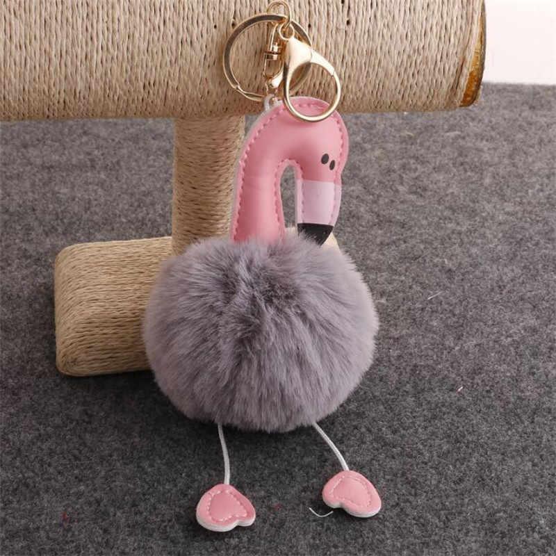 Pele Pompom Flamingo Chaveiros Para As Mulheres Pom Pom Fofo Saco Carro Chaveiro Pingente Chaveiro Porte Flamingo Clef Charme Chaveiros