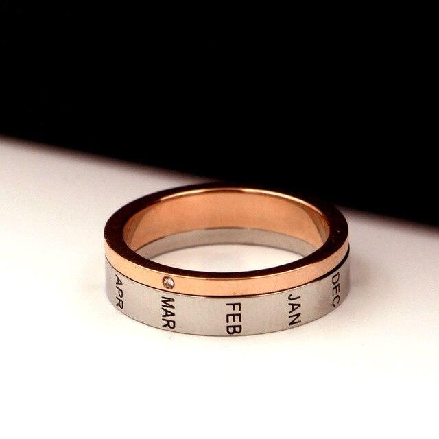 Купить кольцо из титановой стали с буквами розовое золото и серебро картинки