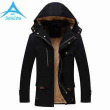 Brand Jackets Men Cotton Winter Coats Jackets Parkas Hooded Warm Thicken Coat Large Size High Quality Liner Famous 2017 New