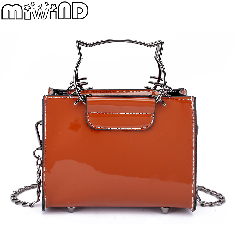Women Shoulder Messenger Bags Metal Kitty Handle Handbags Mirror Leather Chain Strap Flap Bag For Girls MIWIND 2018 New Arrival