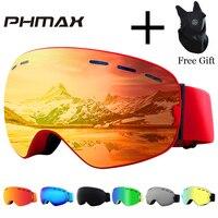 PHMAX Brand Ski Goggles Men Women Snowboard Goggles Glasses for Skiing UV400 Protection Snow Skiing Glasses Anti fog Ski Mask