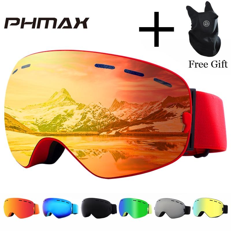 PHMAX marca gafas de esquí de las mujeres de los hombres Snowboard gafas de esquí UV400 protección nieve esquí gafas Anti-niebla de esquí máscara