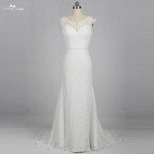 yiaibridal RSW1149 Boat Neckline Illusion Wedding Dresses