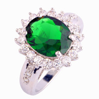 Wholesale Junoesque Women Oval Cut Emerald Quartz & White Sapphire 925 Silver Ring Size 6 7 8 9 10 Free Shipping Noble Jewelry