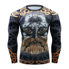 New Compression Rashguard Long Sleeve T shirt Men 3D Muscle Fitness UFC BJJ MMA Tights Bodybuild Cross fit Quick Dry Rash Guard(China)