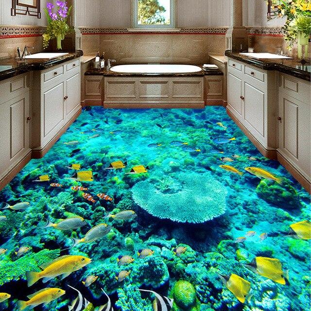 US $15.1 49% OFF|Nach 3D Boden Aufkleber Wandmalereien PVC Selbst adhesive  Wallpaper Wasserdicht Wohnzimmer Bad Boden Wandbild Ozean Tapete in Nach 3D  ...