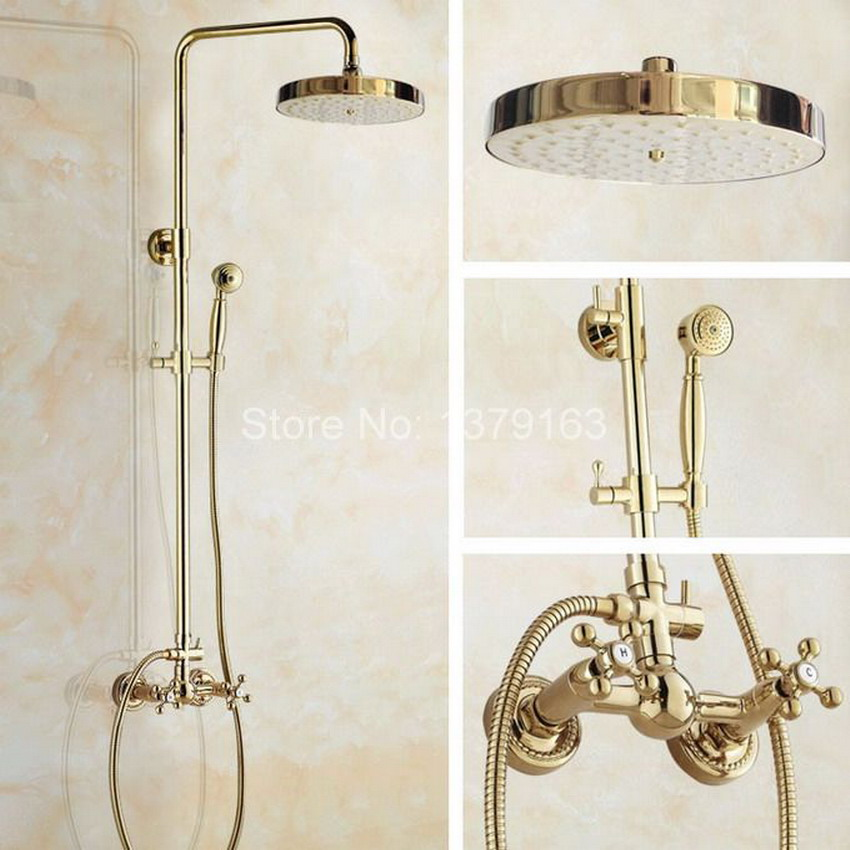 Two Cross Handles 7.7 Bath Rain Shower System with the Shower Head & Hand shower Set Faucet Mixer Tap Gold Color Brass agf325