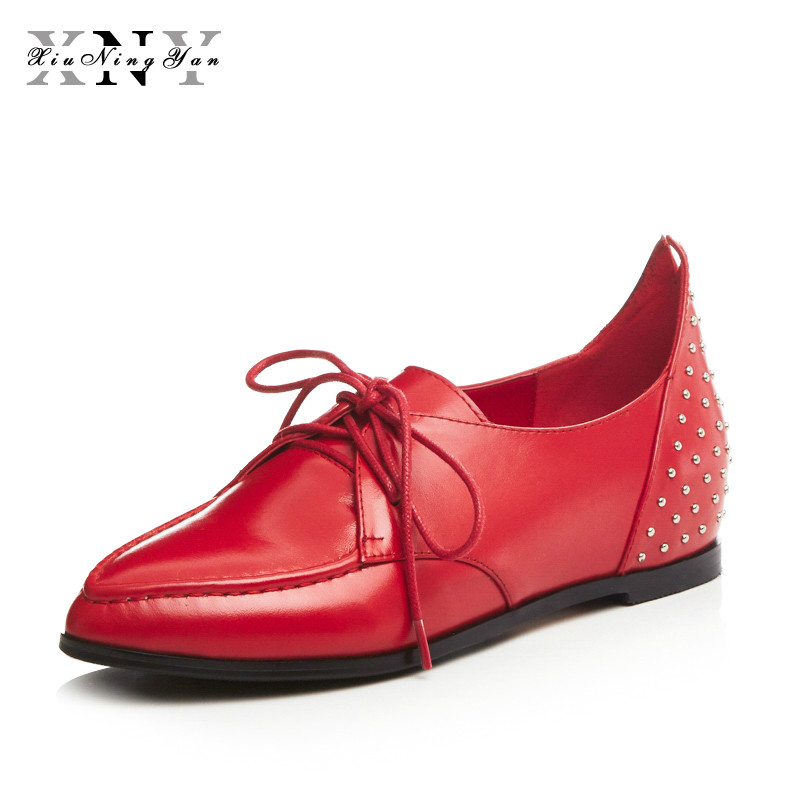XIUNINGYAN Genuine Leather Oxford Shoes For Women Round Toe Lace-Up Casual Shoes Spring Autumn Flat Loafers Shoes Female 34-43 2018 new canvas shoes spring summer women shoes genuine leather canvas shoes female round toe flat shoes lace up female canvas s