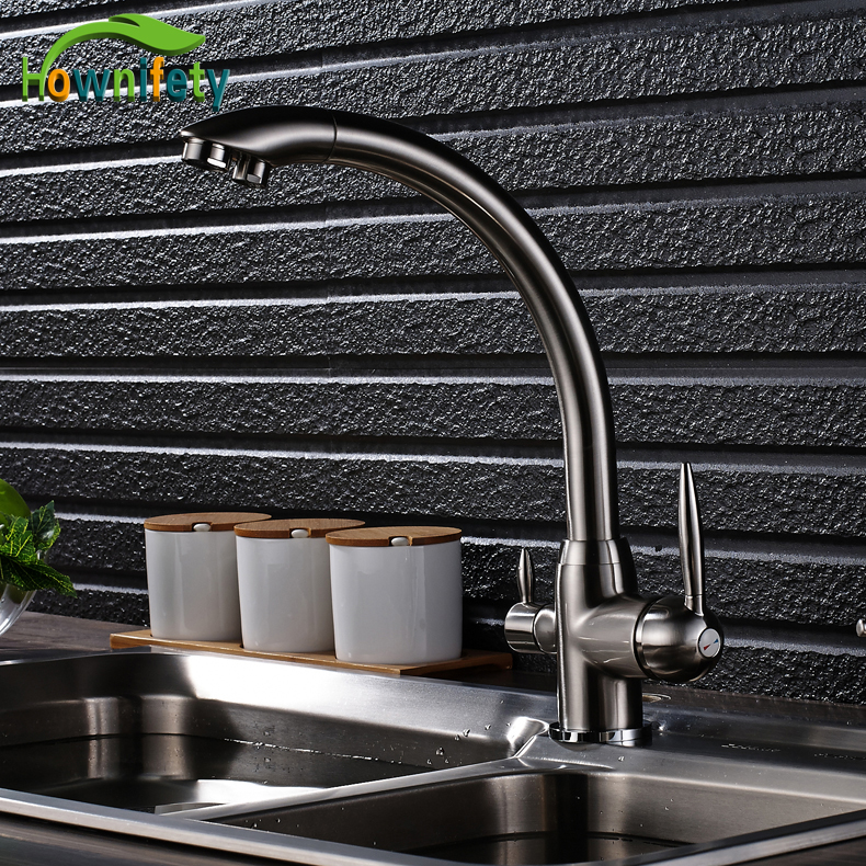 все цены на Nickel Brushed Kitchen Purification Faucet Pure Water Mixer Tap Hot and Cold Water Mixer Tap Deck Mounted