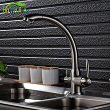 Никель матовый Кухня очистки кран чистой воды смесителя горячей и холодной воды смесителя бортике