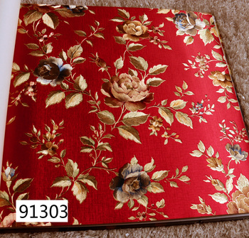 Gold Foil Flower Relieft Wallpapers for Living Room Red Background Gold Flower Wall Paper 3d Pastoral papel de parede