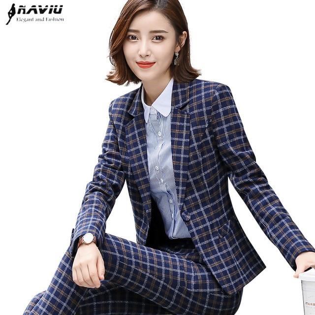 d91593d326e 2018 new fashion women plaid pants suits professional office wear plus size  long sleeve blazer and pants two pieces set