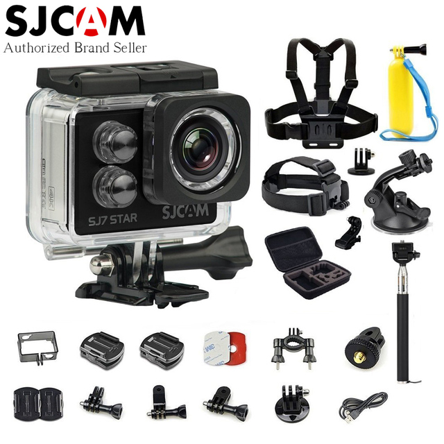 SJCAM SJ7 Star WiFi 4K 30FPS 2' Touch Screen Remote Action Camera Helmet Sport DV Waterproof Ambarella A12S75 Chip + Accessories