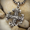 Vintage  Gress Cross Lily flower Pendants  for men women The Jerusalem stainless steel  necklace